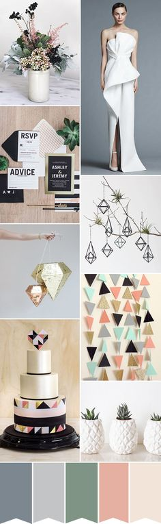 Modern Geometric Wedding Color Palette | www.onefabday.com
