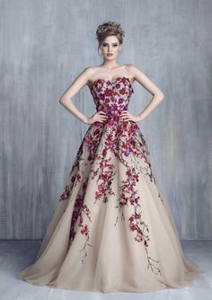 Tony Chaaya Haut Couture 2016: Strapless, nude ball gown with a sweetheart neck line and purple/red floral embellishments.