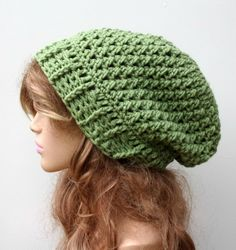 Lettuce green Baggy Hipster Hat Slouchy Hippie Beanie Handmade Crochet