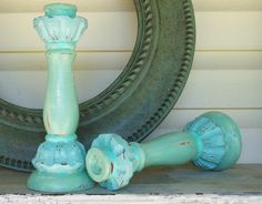 Shades of the  Beach Distressed Candle Holders Sea Foam Green & Robins Egg Blue
