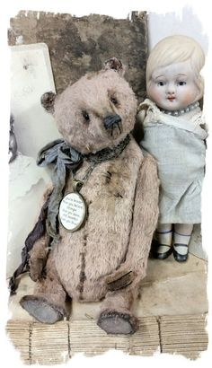 """Cabinet Size.... Aprrox. 7"""" tall (sits @ 5"""" ) - Antique Classic Style aged shabby light musk brown teddy bear, wearing vintage ribbons..."""