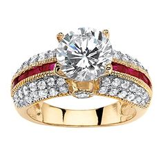 Promise Rings Simple | Round White Cubic Zirconia and Lab Created Red Ruby 14k Gold over 925 Silver Engagement Ring -- You can get more details by clicking on the image.(It is Amazon affiliate link) #followall