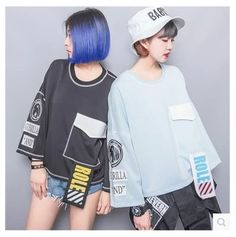 Fashion HARAJUKU zipper personality embroidery applique letter ribbon loose plus size sleeve t-shirt female Harajuku Fashion, Fashion Outfits, Womens Fashion, Harajuku Girls, Japanese Street Fashion, Korean Fashion, 2 Logo, Fashion Details, Fashion Design
