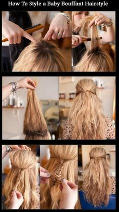 New Short Hair Styles: How To Style a Baby Bouffant Hairstyle Love Hair, Great Hair, Pretty Hairstyles, Girl Hairstyles, Braid Hairstyles, Style Hairstyle, Bouffant Hair, Different Hairstyles, Tips Belleza