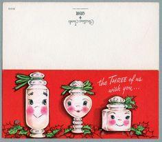 #153 Three Anthropomorphic Candy Jars, Vintage Christmas Card-Greeting Vintage Pink Christmas, Christmas Art, Xmas, Christmas Greeting Cards, Christmas Greetings, Vintage Ornaments, Candy Jars, Vintage Cards, Kitsch