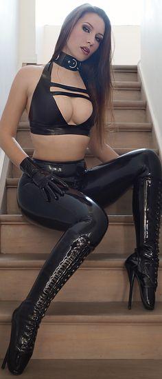 BDSM Bondage Brunette Collared in Latex Lingerie, Gloves & Leggings with Extreme Fetish Ballet Heels