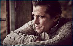 Embracing a classic look, Werner Schreyer wears a cable-knit cashmere sweater and polo shirt from Ralph Lauren Purple Label.