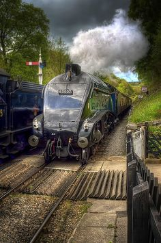Sir Nigel Gresley 60007 steams into Goathland station on the North Yorks Moors railway.