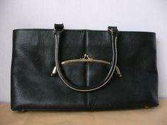 Bonnie Cashin for Coach Black Leather Handbag with Exterior Kisslock Pouch