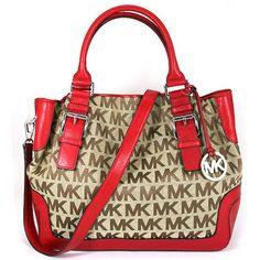 Brand New Michael Kors Signature Large Red Brookville Handbag Drawstring