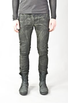 resin painted & pressed curved leg military denim — re. porter