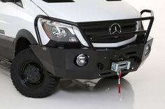 Sprinter Van with Aluminess front winch bumper from Off Road Bumpers, Winch Bumpers, Sprinter Camper, Mercedes Sprinter, Sprinter Van Conversion, Rv Travel, Caravans, Campervan, Land Cruiser