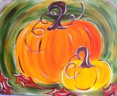 Pumpkins and Trees On Canvas | For paper and canvas. Maybe pottery. Fun and creative for sure.