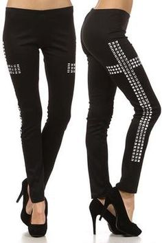 NEW WOMEN BLACK CROSS STUDDED LEGGINGS Pant Long Soft Punk Versatile Sexy S M L $25.95