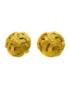 From the Fall 1994 collection, these Chanel clip on style gold earrings are a circular dome shape with 3 CC logos on the top. In excellent condition.