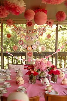 Little Girl's Pink Tea Party