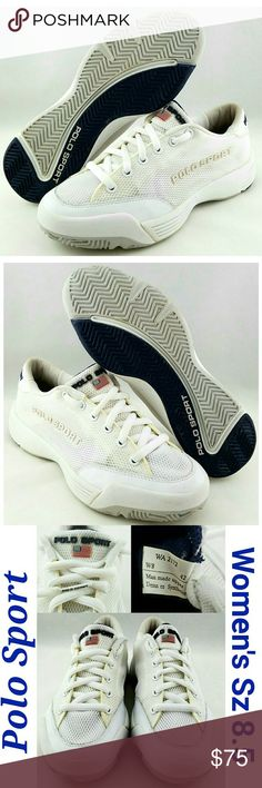 Ralph Lauren Polo Sport Womens Ralph Lauren Polo Sport Logo White Sneakers Size: 8.5  About this item: Excellent Condition See all 4 Pictures Logo On Tongue, Back & Side Logo On Bottom Size: 8.5 Sole: 11 Width: 4 Polo by Ralph Lauren Shoes Sneakers