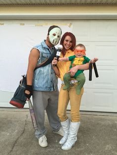 Baby's first halloween! Little ninja turtle, April O'neil, and Casey Jones.  - Bump Blog