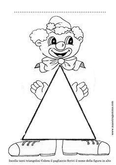 Schede figure geometriche Preschool Printables, Preschool Kindergarten, Preschool Crafts, Crafts For Kids, Clown Crafts, Carnival Crafts, Mathematics Geometry, Teaching Geometry, Infant Activities