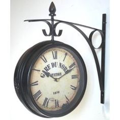 horloge de gare murale port clocks 33x35cm pendule bois noir vitre l 39 h ritier du temps faire. Black Bedroom Furniture Sets. Home Design Ideas
