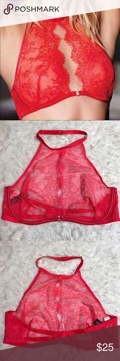 VS 34C Very Sexy Halter Bra Unlined underwire sheer Victoria's Secret Intimates & Sleepwear Bras