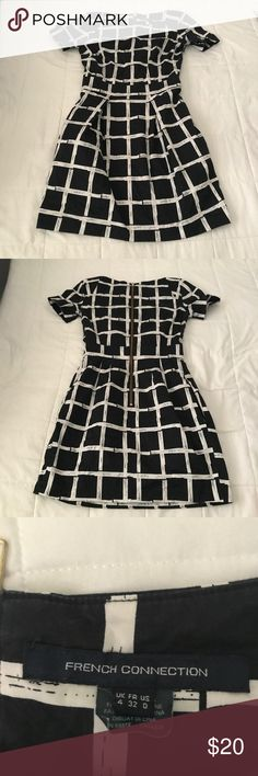 b&w patterned dress great condition. has a back gold zipper French Connection Dresses Midi