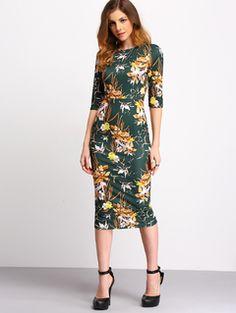 Green+Mock+Neck+Floral+Sheath+Dress+