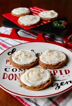 Chewy Gingersnap Cookies with Eggnog Frosting