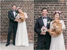 Brautpaarshooting, schwarzer Anzug, schwarze Fliege, Brautkleid, Blumenkranz, Brautpaar, Hund, Spitze, Portrait, Foto: Violeta Pelivan