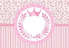 Convite para Festa Coroa de Princesa Rosa Floral Modelo
