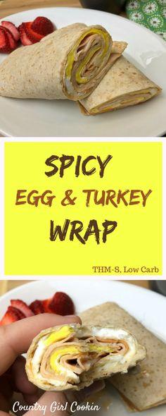 Spicy Egg & Turkey Wrap (THM-S, Low Carb)