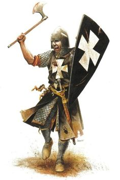 Knight Hospitaller, late 12th century. The helmet is a bit odd, though.