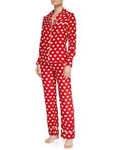 Coco+Silk+Heart-Print+Pajamas,+Red/White+Heart+by+Three+J+New+York+at+Neiman+Marcus.