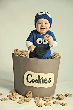 """C is for """"Cookie"""" Monster Picture - Cheeky grins will be genuine at this chocolate chip-filled photo session. Wrap a laundry basket in wrapping paper and surround your kiddo in plastic toy cookies. With this adorable kooky-eyed beanie, your kiddo will be the perfect Cookie Monster."""