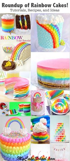 Learn to pipe a beautiful buttercream rainbow cake design in this free My Cake School step by step cake tutorial! My Cake School. Cake Decorating Videos, Cake Decorating Techniques, Decorating Ideas, Mini Cakes, Cupcake Cakes, Cupcake Ideas, Baby Cakes, Rainbow Cake Tutorial, Cake Design Inspiration