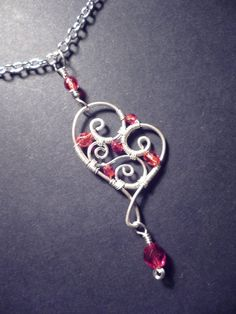 Red Sweetheart pendant  wire wrapped jewelry. $20.00, via Etsy.