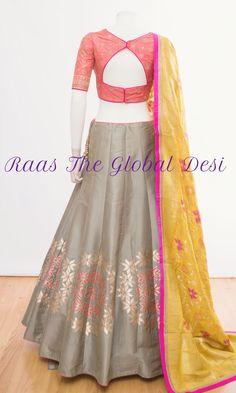 Raas The Global Desi lehenga Indian dress chaniya choli gown saree CHOLI-[navratri_chaniya_choli]-[chaniya_choli_online_USA]-[chaniya_choli_for_garba]-[chaniya_choli_for_navratri]-Raas The Global Desi Lehenga Choli Designs, Choli Blouse Design, Lehenga Choli Online, Blouse Designs, Lehenga Gown, Lehenga Blouse, Indian Dresses, Indian Outfits, Indian Clothes