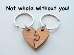 Wood Heart Pieces Connecting Keychain Set - Not Whole Without You, Wood Keychain Set