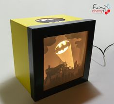 Batman shadow box with light by FairyCherry on Etsy