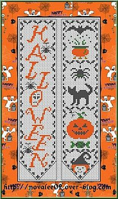 Halloween cross stitch chart for bookmark - free PDF!