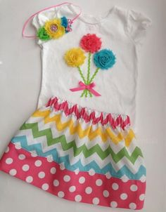 Girls Spring or Easter Pink and Pastel 3D Flower Applique Onesie or T-Shirt, Chevron Twirl Skirt, and Headband - Easter Outfit.