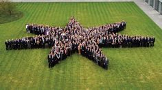 Hundreds of our employees forming the seven-pointed star in the yard  at our headquarters in Copenhagen, Denmark.