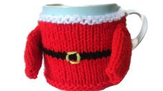 Santa Mug Cosy Christmas Sweater Mug Hug Knitted Gift by thekittensmittensuk on Etsy