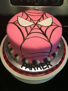 SpiderGirl cake Girl Superhero Cake, Spiderman Birthday Cake, Birthday Cake Girls, Baby First Birthday, 4th Birthday Parties, 5th Birthday, Girls Party Invitations, Kid Birthdays, Girl Cakes