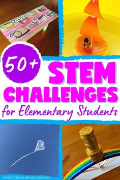 Looking for easy STEM Challenges for kids in the elementary classroom? Click to read more about 50+ easy, low prep and engaging STEM challenges that you can implement throughout the entire school year.