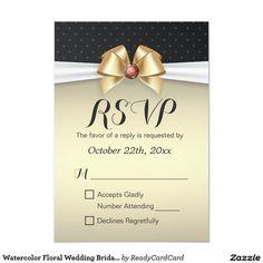 Watercolor Floral Wedding Bridal Shower RSVP Card