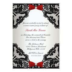 Sweet Sixteen Birthday Party Invitation Red, white and Black lace Sweet 16 Card