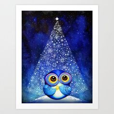 Wish Upon a Star Owl - Christmas Tree Snow Blue Bird Artwork - Fine Art Painting Print via Etsy Owl Christmas Tree, Blue Christmas, Christmas Time, Christmas Decor, Christmas Gifts, Illustration Mignonne, New Fine Arts, Owl Pictures, Owl Always Love You