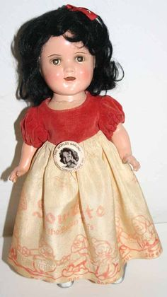 "11"" composition Shirley Temple Snow White doll. This is a Shirley Temple mold that was used to make a Snow White doll (popular after the Walt Disney movie came out in 1939)."