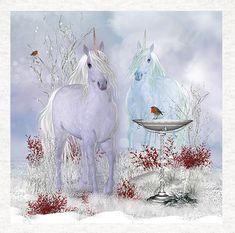 Unicorns With Robin fantasy art, Fabric Quilting    Sewing   Craft Panel    eBay